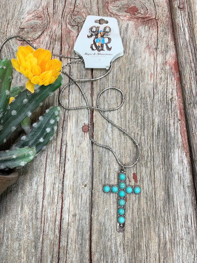 Turquoise Spot Cross Necklace Set