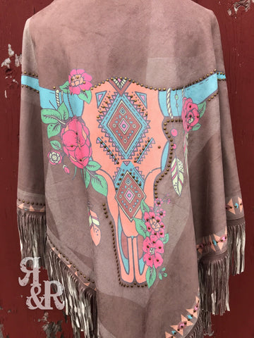 Studded Cow Skull Poncho