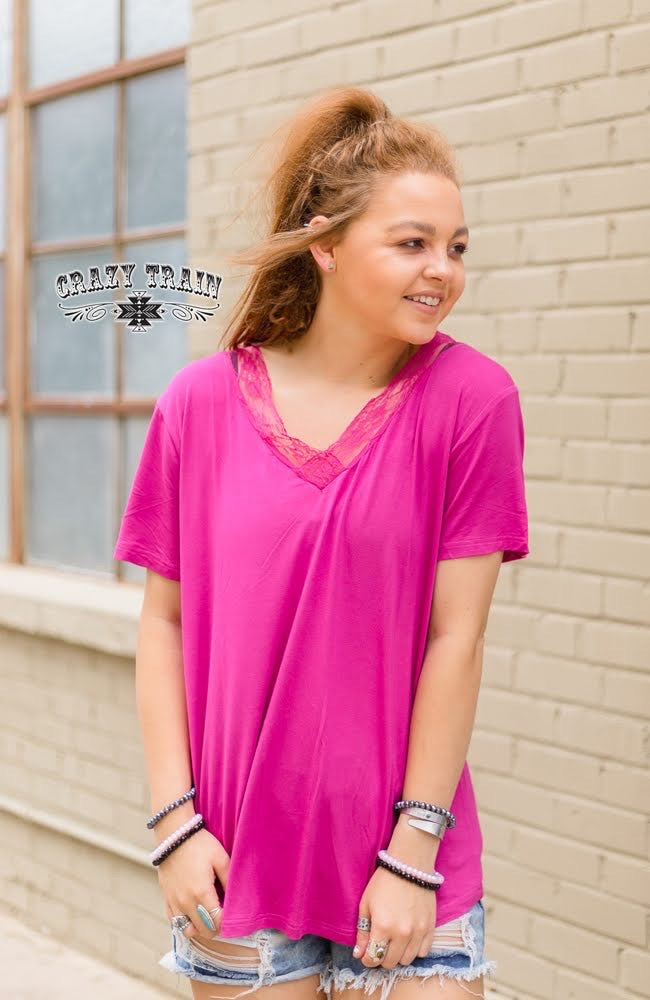 Magenta Very Fav V Neck