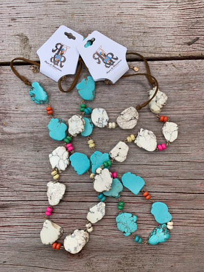 Turquoise Slab Multi Color Necklace