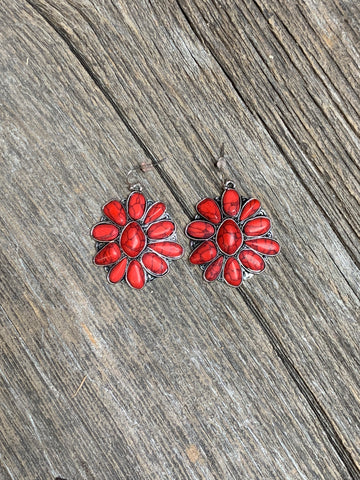 Coral Cluster Earrings - Ropes and Rhinestones