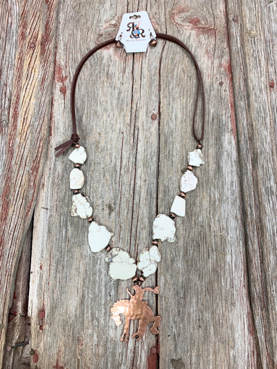 White Turquoise & Copper Bucking Bronc Necklace