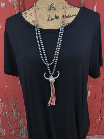 Cow Skull Tassel Necklace Set - Ropes and Rhinestones
