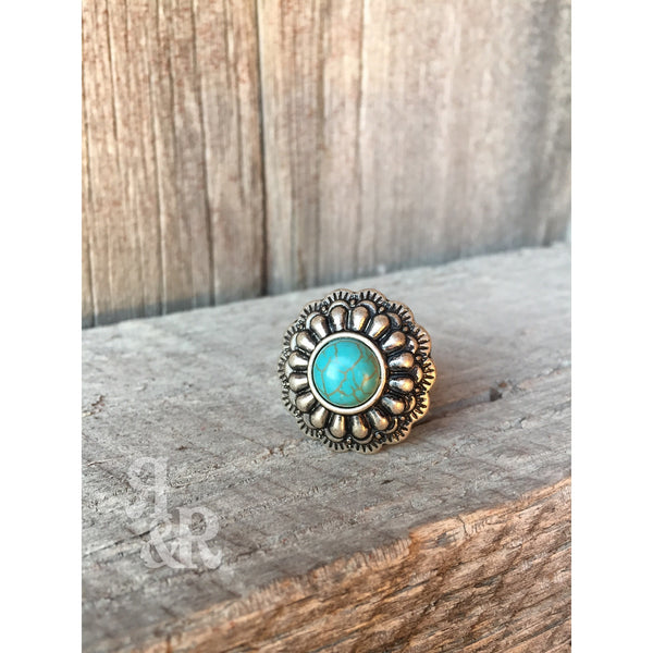Turquoise Concho Ring - Ropes and Rhinestones