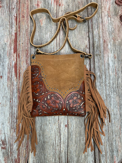 Filigree Tooled Fringe Cross Body Purse