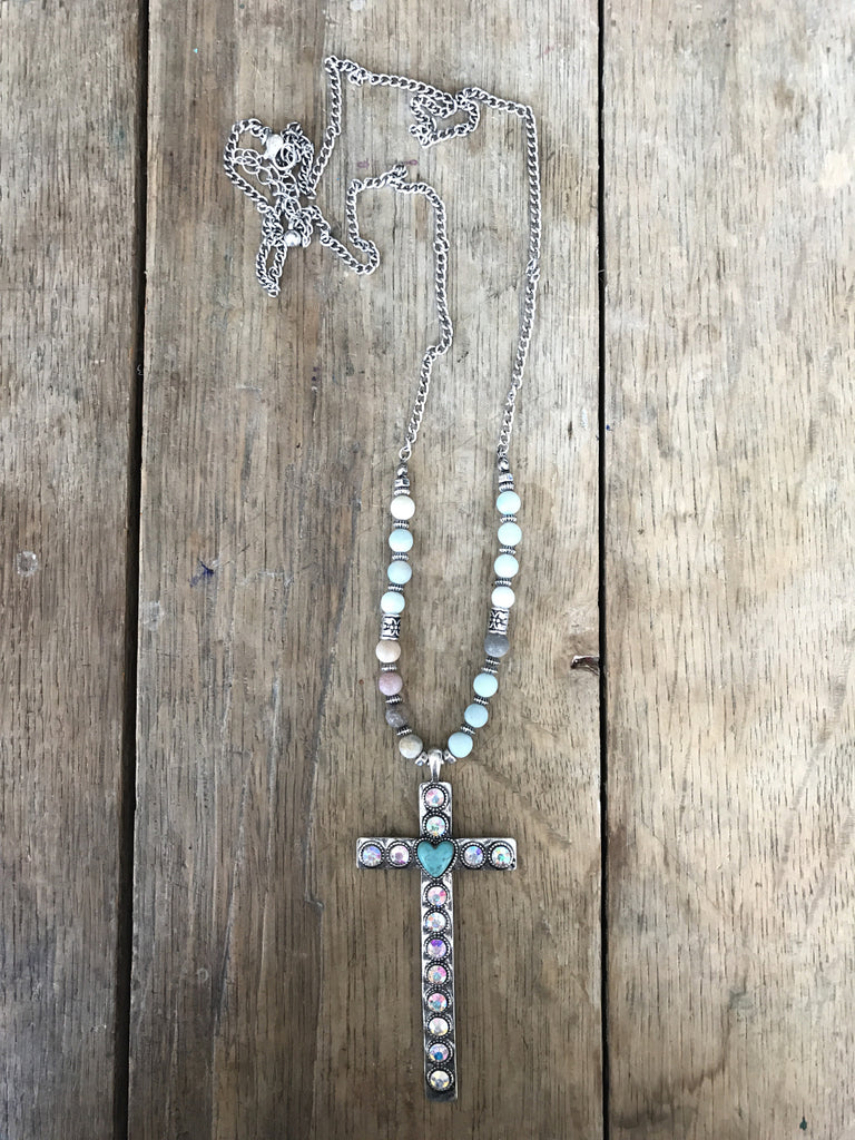Cross Heart Necklace - Ropes and Rhinestones