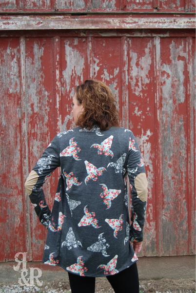Cow Skull & Floral Cardigan - Ropes and Rhinestones