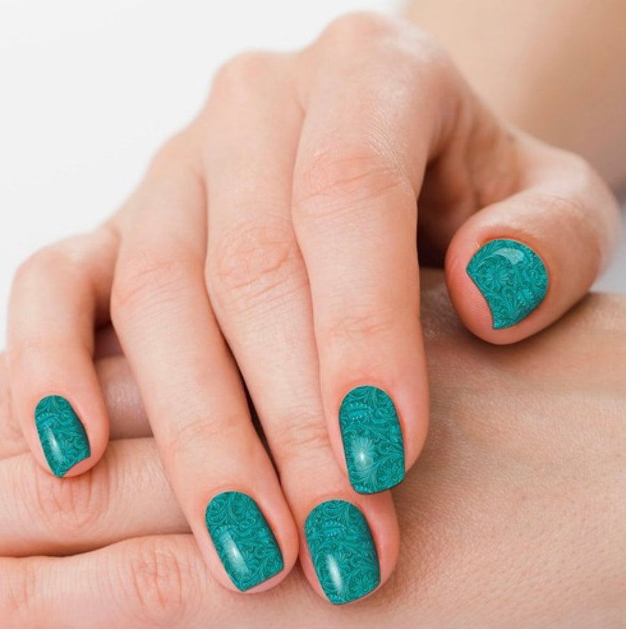 Saddle Up Teal Tooled Leather Nail Polish Strips