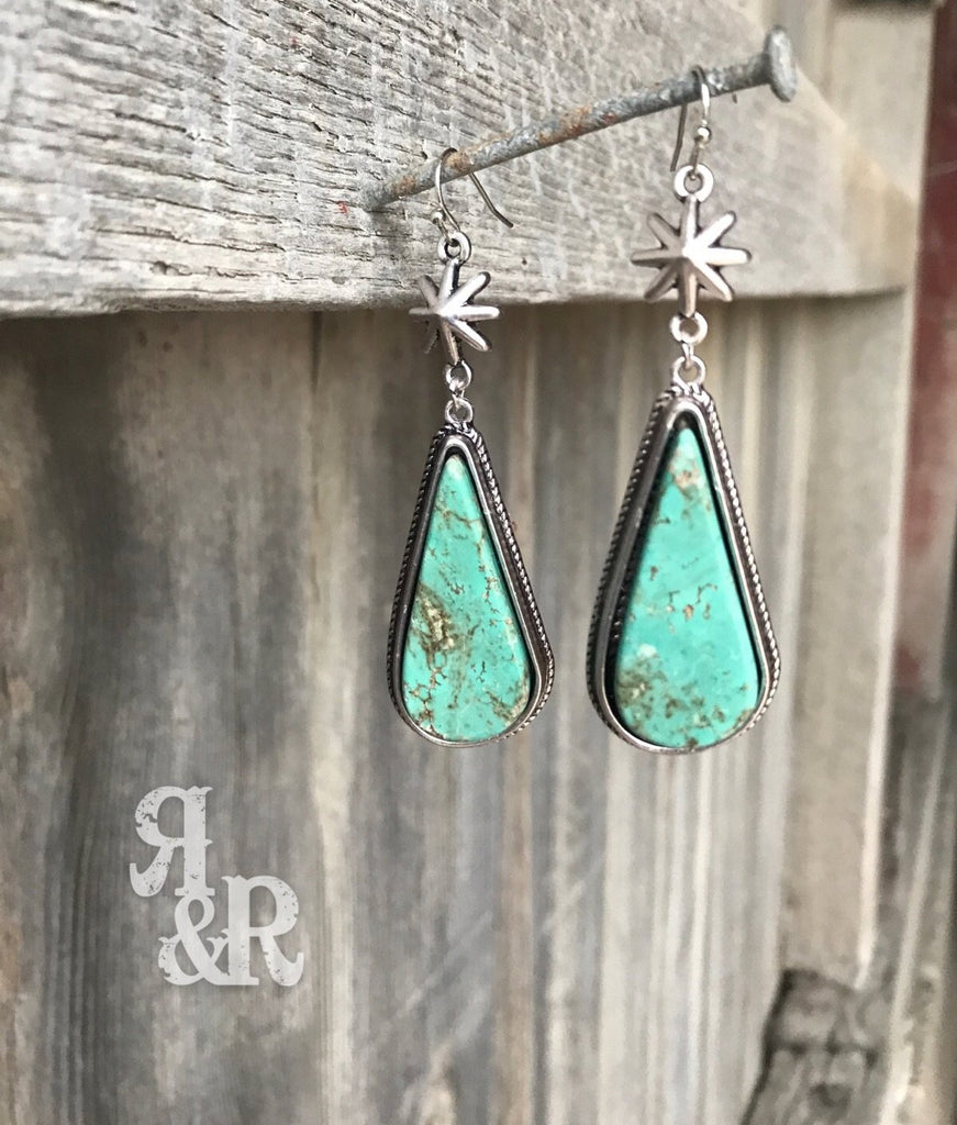 Flat Top Tear Drop Turquoise Earrings
