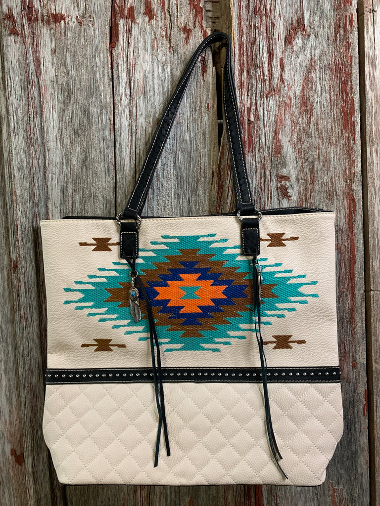 Aztec Embroidered Tote Bag - Ropes and Rhinestones