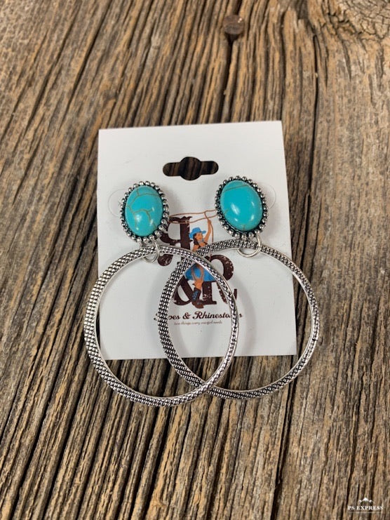 Oval Concho Swinging Hoop Earrings