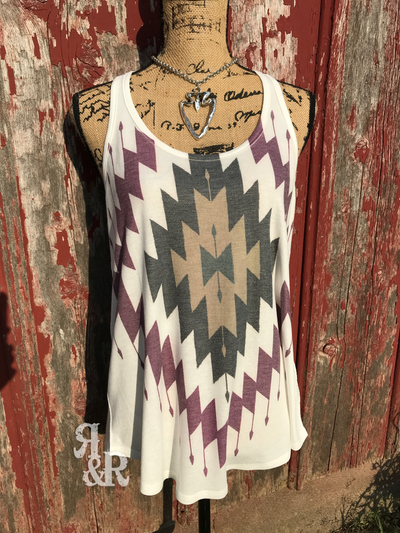 Aztec Maroon Tank Top - Ropes and Rhinestones