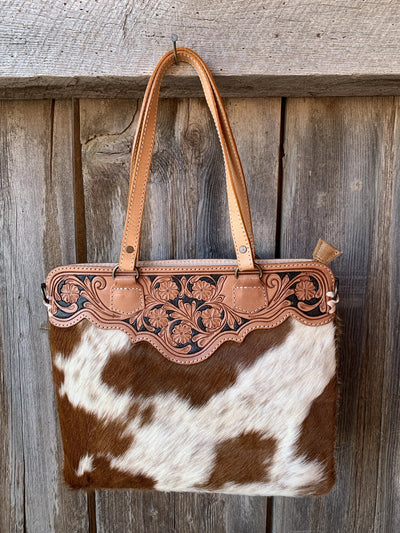 Cowhide Calamity Tooled Top Purse