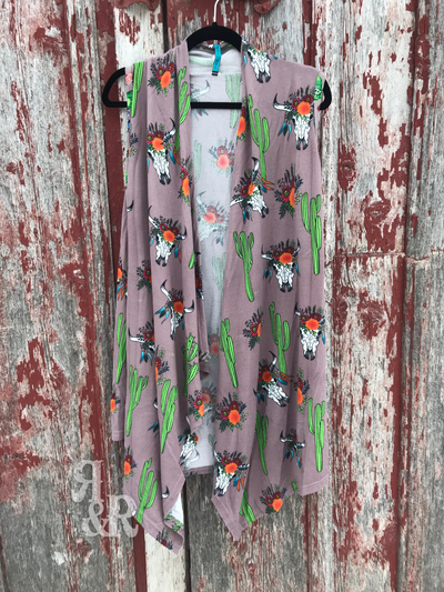 Cow Skull & Cactus Vest - Ropes and Rhinestones