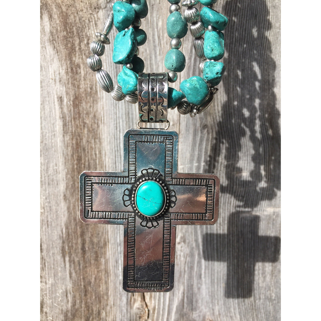 Triple Turquoise Cross - Ropes and Rhinestones
