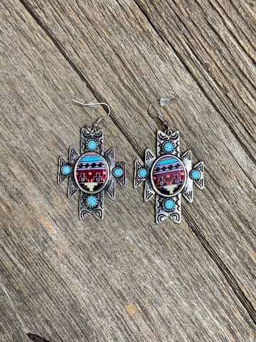 Aztec Print Earrings - Ropes and Rhinestones