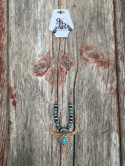 Cow Skull on Cork Necklace Set