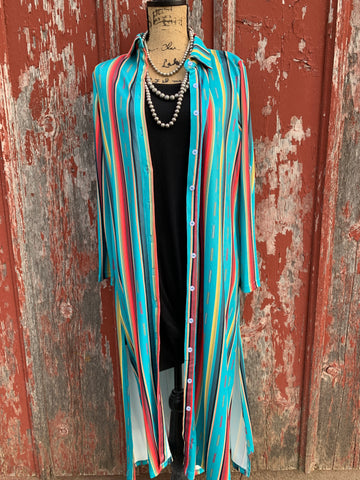 Turquoise Serape Aztec Button Down Duster