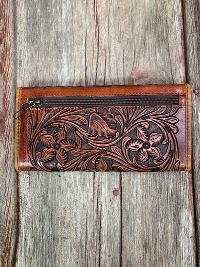 Tri Fold Tooled Leather Clutch