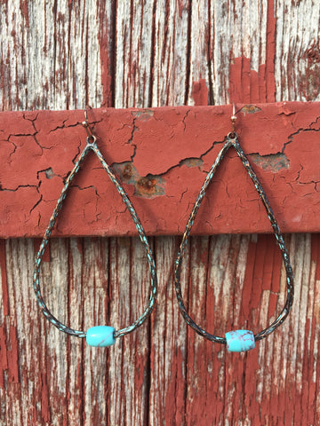 Copper Teardrop Earrings - Ropes and Rhinestones