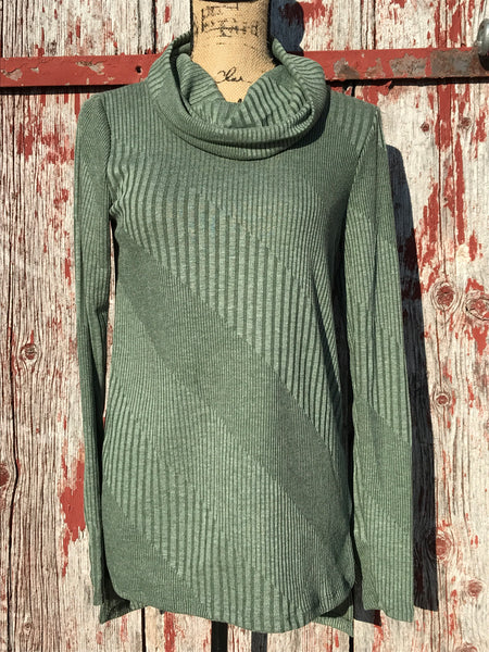 Diagonal Stripe Cowl Neck Top - Ropes and Rhinestones