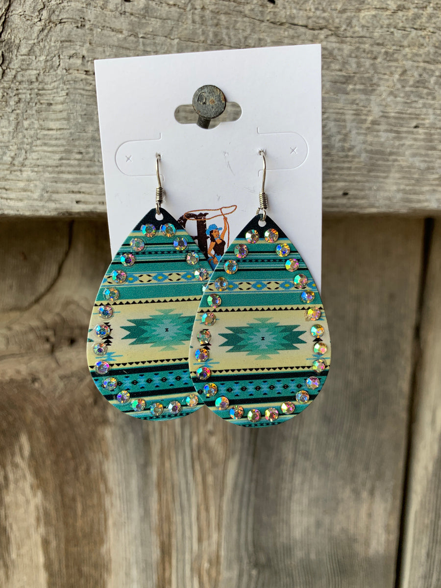 Aztec & Rhinestone Tear Drop Earrings Turquoise