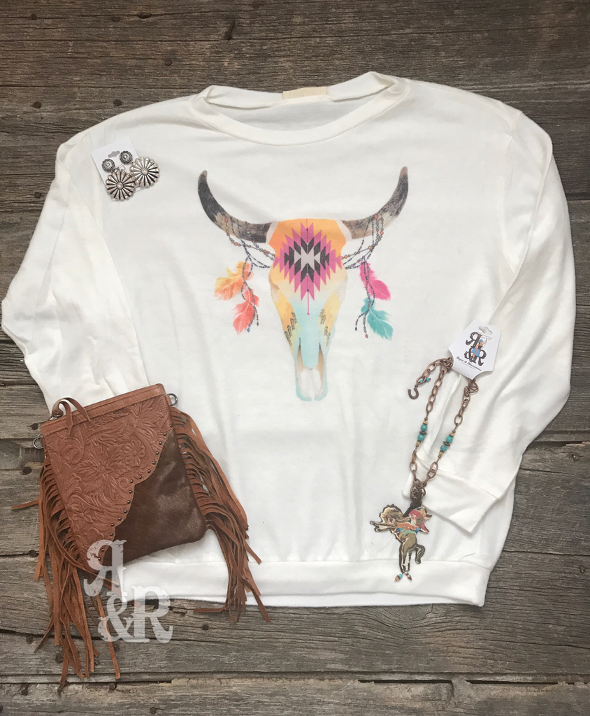 Aztec Cow Skull & Feather Top - Ropes and Rhinestones