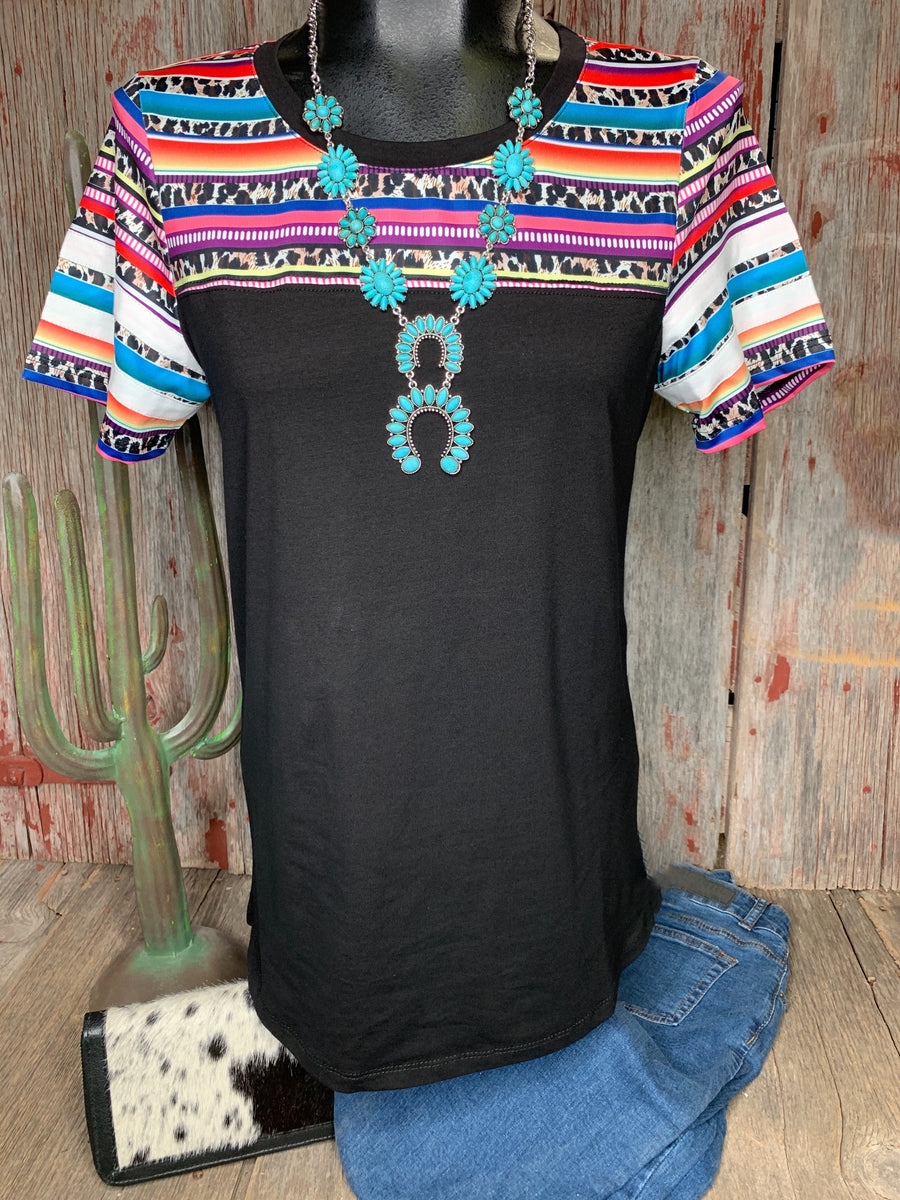 Serape & Leopard Ring Sleeve Top