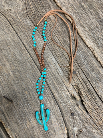 Cactus & Wood Bead Necklace - Ropes and Rhinestones