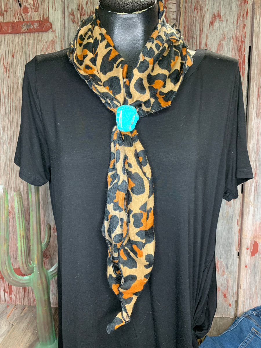 Leopard Scarf with Turquoise Slide
