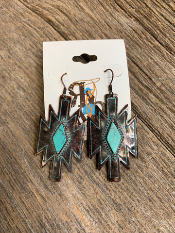Aztec & Turquoise Diamond Earrings - Ropes and Rhinestones