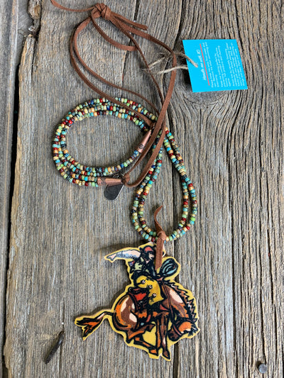 NFR Bronc Rider Leather Necklace