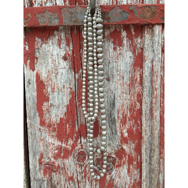 Triple Strand Silver Necklace - Ropes and Rhinestones