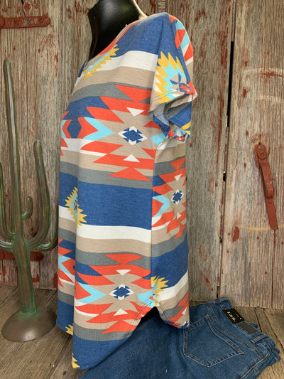 Blue Aztec Short Sleeve Top - Ropes and Rhinestones