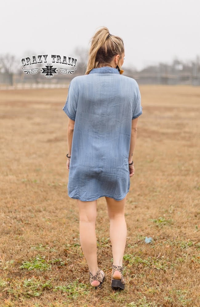 Broadway Blues Button Down Tunic Dress