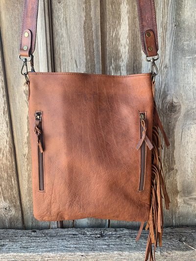 Chaps Cowhide Leather Fringe Purse