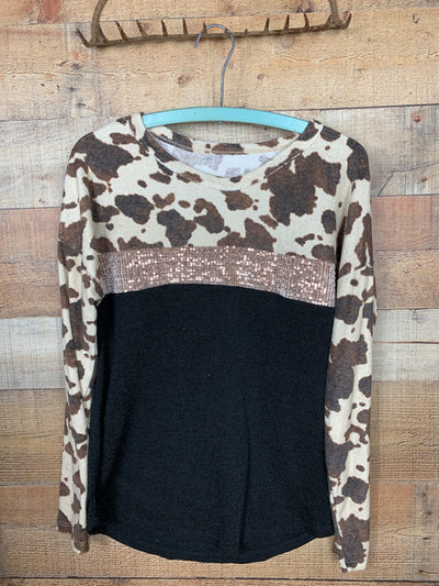 Cow Print & Sequins Long Sleeve Top