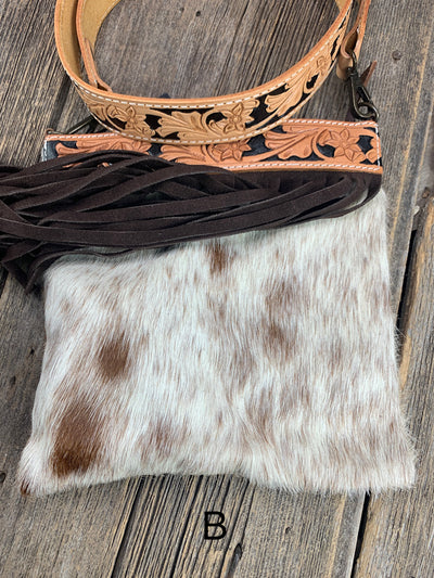 Cowhide Fringe Tooled Belt Purse