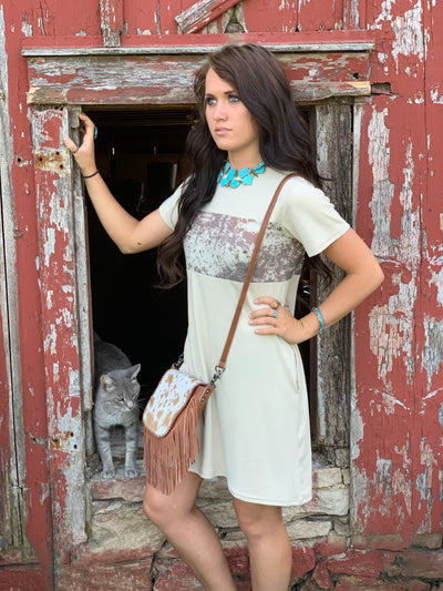Riley Ranch Cowhide Pocket Dress