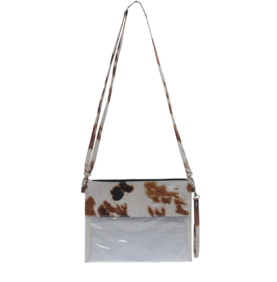 Cow Print Clear Stadium Purse