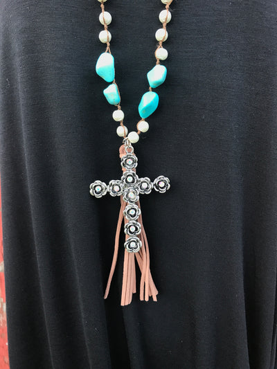 Pearl & Turquoise Cross Necklace Set