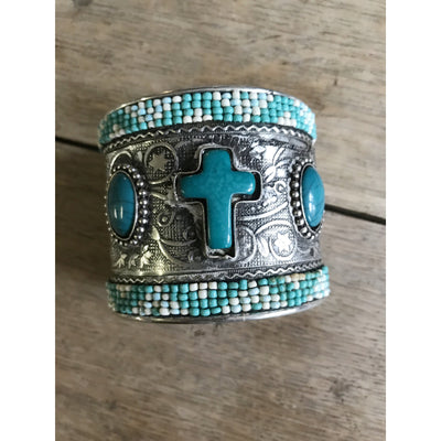 Silver Beaded Cross Cuff