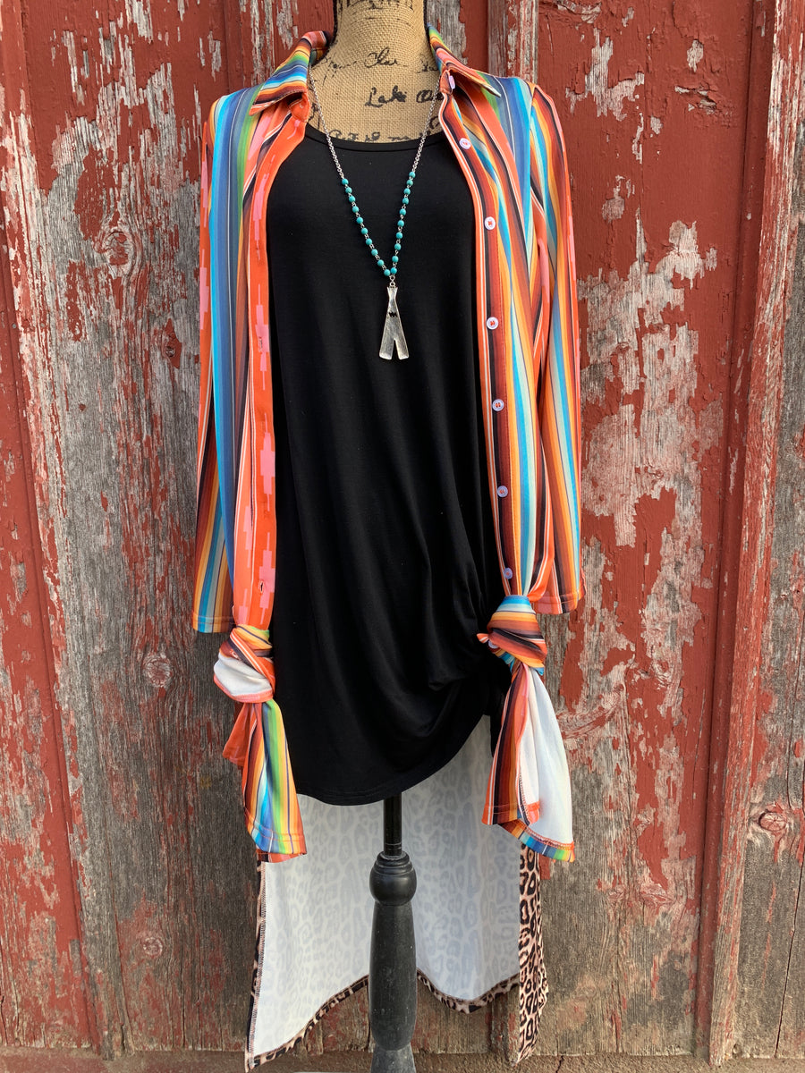Aztec Serape Leopard Button Down Duster - Ropes and Rhinestones