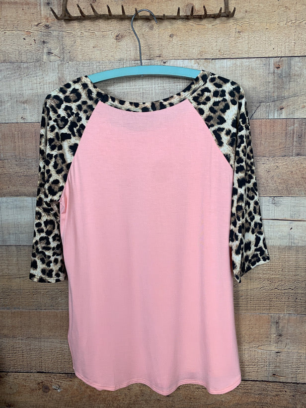 Leopard Pocket Baseball Tee