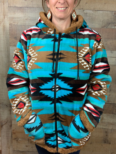 Turquoise Aztec Plush Double Layer Jacket