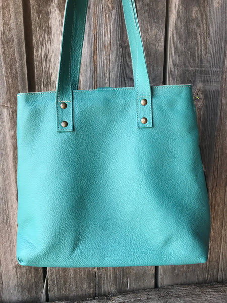 Turquoise Cowhide Leather Purse