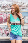 Hot Shot Cowhide Turquoise Tank Top