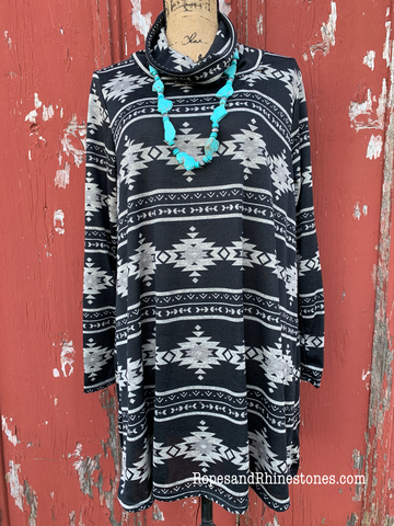 Cowl Neck Aztec Tunic