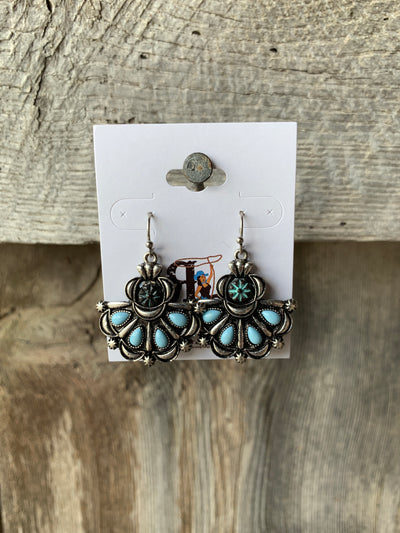 Stone & Silver Fan Earrings