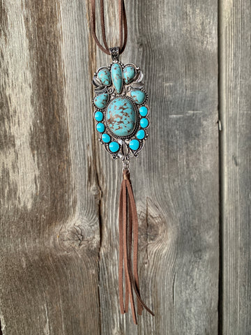 Leather & Turquoise Necklace Set